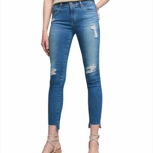 AG The Middi Ankle Distressed Raw Hem Jeans